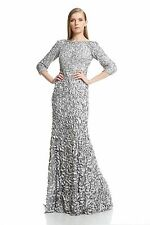 Theia Silver Nickel Petal embellished long sleeve Satin Gown -NWT Size 12 $1,295