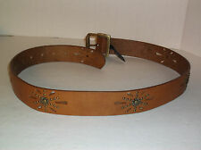 Wmn's~SILVER Jeans~BROWN Italian Leather BELT~Brass BUCKLE~Cutout~NEW~NWOT~Small