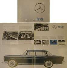 Mercedes Benz 220 S & 220 SE Saloon W112 Fintail 1959-65 Original Brochure 2235e