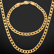 Men's Luxury Fashion Solid Gold Filled Neckalce Bracelet Set Curb Chain Jewelry