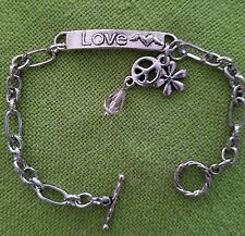 Silver Peace & Love Bracelet Daisy Peace Sign Crystals