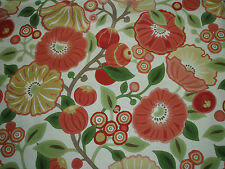 "SANDERSON CURTAIN  FABRIC  DESIGN ""Tree Poppy"" 3.4 METRES TOMATO & OLIVE (340CM)"