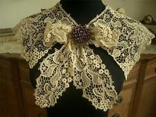 UNIQUE LG Antique Vtg EDWARDIAN SCHIFFLI GUIPURE LACE COLLAR DRESS FRONT