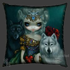 *LOUP GAROU: LA GRANDE PRETRESSE* Wolf Art Cushion By Jasmine Becket-Griffith