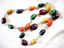 1950s-60s MULTI-COLOR PLASTIC CAST ALMOND SHELL & GOLD TONE CHAIN-LINK NECKLACE