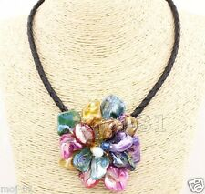 """Fashion Women's Colorful Freshwater Pearl Sea Shell Flower Leather Necklace 18"""""""