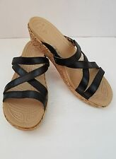 Womens Clothing Shoes Crocs A Leigh Mini Wedge Leather Strap Sandals SZ 11 W