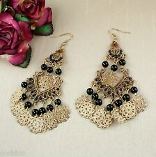 E14 Black Bead Boho Ethnic Chandelier Teardrop Hook Earrings
