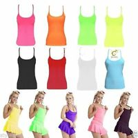 NEW WOMEN GIRLS NEON STRETCHY LYCRA MICROFIBER VEST TOPS CASUAL DANCE PARTY VEST