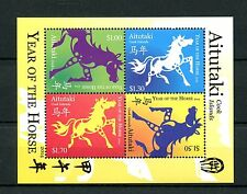 Aitutaki Cook Isl 2014 MNH Year of Horse 4v M/S Chinese Lunar New Zodiac Stamps