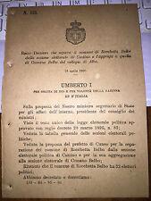 REGIO DECRETO sep ROCCHETTA BELBO da CASTINO ag COSSANO BELBO collegio di ALBA
