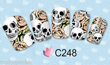 Nail Art Stickers Nail Water Decals Transfers Wraps Halloween Skulls Gel Polish