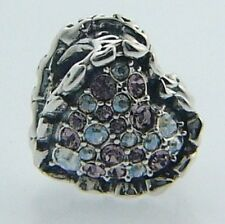 2025-2175 CHAMILIA STERLING SILVER SWAROVSKI RUFFLED HEART BEAD NEW IN POUCH
