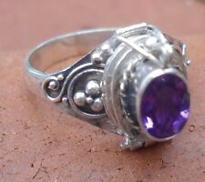 925 Solid Silver Balinese Style Poison Locket Ring & Amethyst Cut Size 9-H68