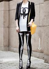 Women Lady Skull Skeleton Bone Halloween Party Tights Pantyhose Opaque Stockings