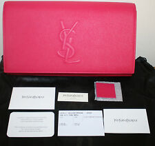 NWT YSL YVES SAINT LAURENT PARIS BELLE DU JOUR FUSCHIA LEATHER CLUTCH