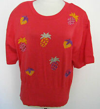 ESCADA Vintage Rare Salmon 100 % Cotton Top With Embroidered Fruit Size 42