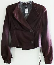 NWT TULEH Brown Short Length Crop Dressy Evening Blazer Jacket, ORP $1,695, XS