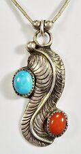 Signed GH - NAVAJO - Sterling Silver Eagle Feather Pendant Turquoise Coral Chain