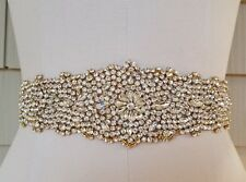 "LIGHT GOLD CLEAR Rhinestone Wedding  Applique Trim Craft = 12 1/2"" long = DIY!"