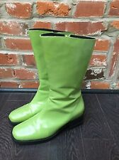Vintage 90s Shiny Mid Calf Boots Size 7.5 Womens Green Mod
