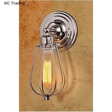 WALL LIGHT Chrome Wire Cage Sconce Lamp Industrial Retro Edision Bulb Vintage