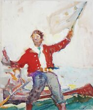 FRANK SCHOONOVER-Famous Illustrator-Original Mixed Media Sketch-Boy & Flag-PROV.