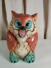 Vtg Japan Mid-Cent Pottery Screeching WISE Owl Bank 70's retro colors