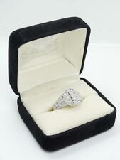Elegant Contemporary Zales Solid White Gold Filigree Diamond Ring & Orig Boxes