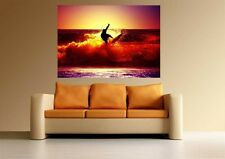 A0 SURFING THE WAVE SUNSET SURF  ART GRAPHICS LARGE IMAGE GIANT POSTER PRINT