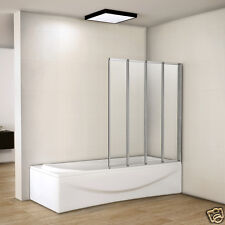 1000x1400mm Matt Silver 4 Fold Folding Shower Bath Screen Glass Door Panel 4mm