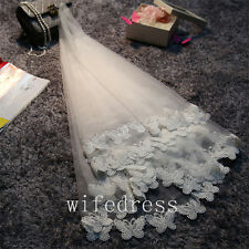 Elegant White Elbow Length Bridal Short Veil Wedding Veils Butterfly Appliques