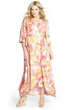 Melissa McCarthy Seven Maxi Dress NWT Pink Floral Kimono SZ 4X XXXXL E