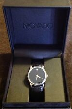 Movado Museum Classic Black Leather Mens Watch 2100002. Perfect Condition