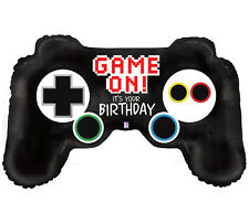 """1 36"""" Video Game Controller Balloon and 1 18"""" Happy Birthday Leveled Up Balloon"""
