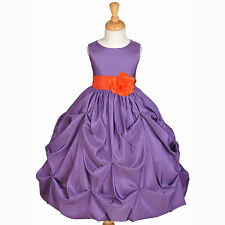PURPLE PAGEANT TAFFETA TODDLER JUNIOR WEDDING FLOWER GIRL DRESS 2 3T 4 6 7 8 10