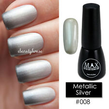 MAX 7ml Nail Art Color UV LED Lamp Soak Off Gel Polish #008-Metal​iic Silver