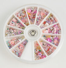 Lot 1200pcs Wheel Mixed Nail Art Tips Glitters Rhinestones Slice Decoration gems