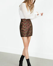 BEAUTIFUL ZARA BLACK  RED PRINTED JACQUARD MINI SKIRT SIZE XS UK 8