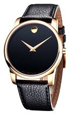 Movado Museum Classic RG PVD Black Leather Men Watch 0607060 - New Arrival Sale
