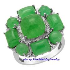 AMAZING PLATINUM/SILVER GREEN JADE DIAMOND PROSPERITY RING 14.68CT
