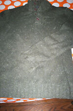EUC! $78 NAUTICA MENS 4 BUTTON COLLAR WOOL BLEND SWEATER- OLIVE GREEN-LARGE