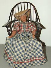 Antique Early Americana Handmade Primitive Folk Art Cloth Rag Doll & Doll Chair