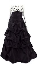 MONIQUE LHUILLIER Black & White Beaded Satin Formal Ball Gown 12