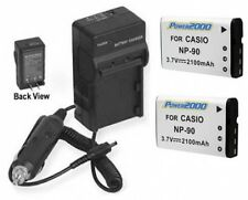 TWO 2 NP-90DBA Batteries + Charger for Casio EX-H15 EX-H15BK EX-H20 EX-H20G