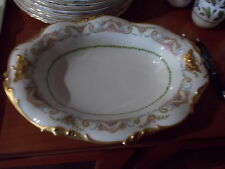 JPL Pouyat LIMOGES Oval Floral Bowl - Handpainted Pink Roses w/Heavy Gilt