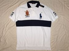POLO RALPH LAUREN Classic Fit BIG PONY Mesh Polo Shirt, Crest, White Navy MEDIUM