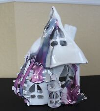 HM 2 Seat RENAISSANCE FAIR Castle House Candle Tealight Fairy Purple SilverMetal