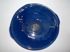 "VINTAGE  FRENCH 12""  BLUE GLAZED EARTHENWARE TIAN CONFIT BOWL FAIT MAIN STAMPED"