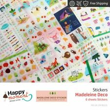 Madeleine Deco Stickers Diary Scrapbook Deco Calendar Label Crafts 6 sheets